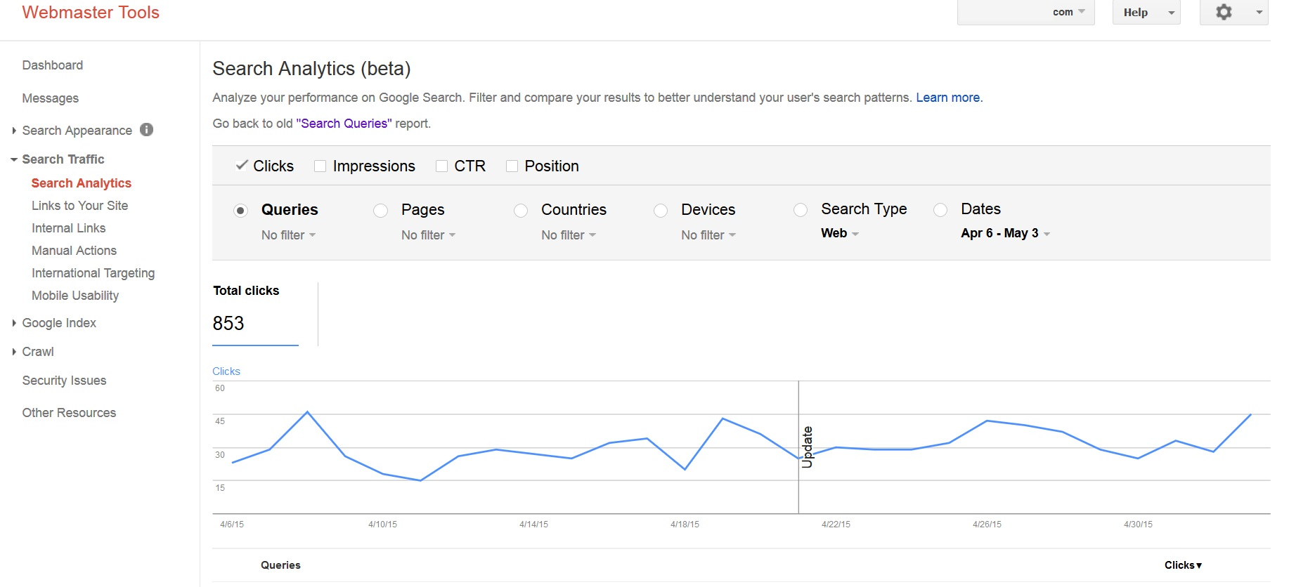 Google Webmaster Tools Update Search Analytics