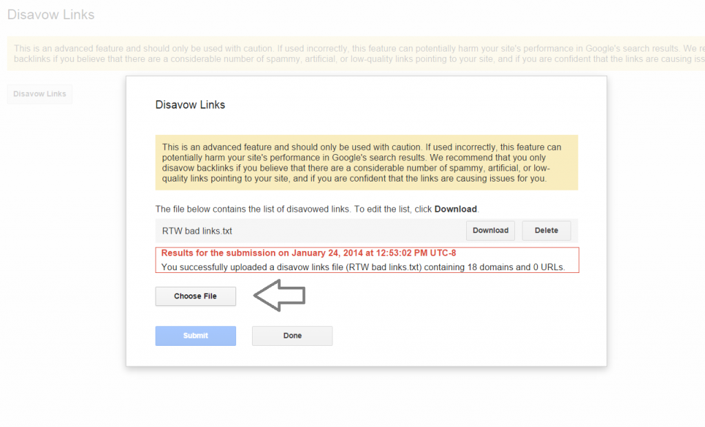 Disavow file Submission Button