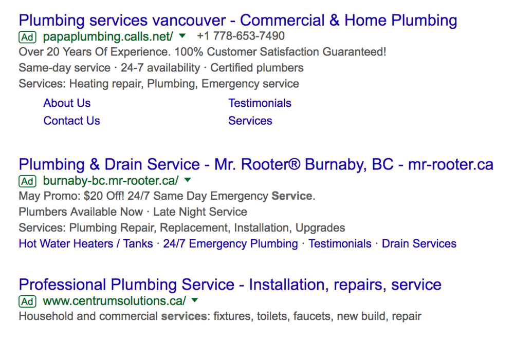 AdWords for a plumbing company